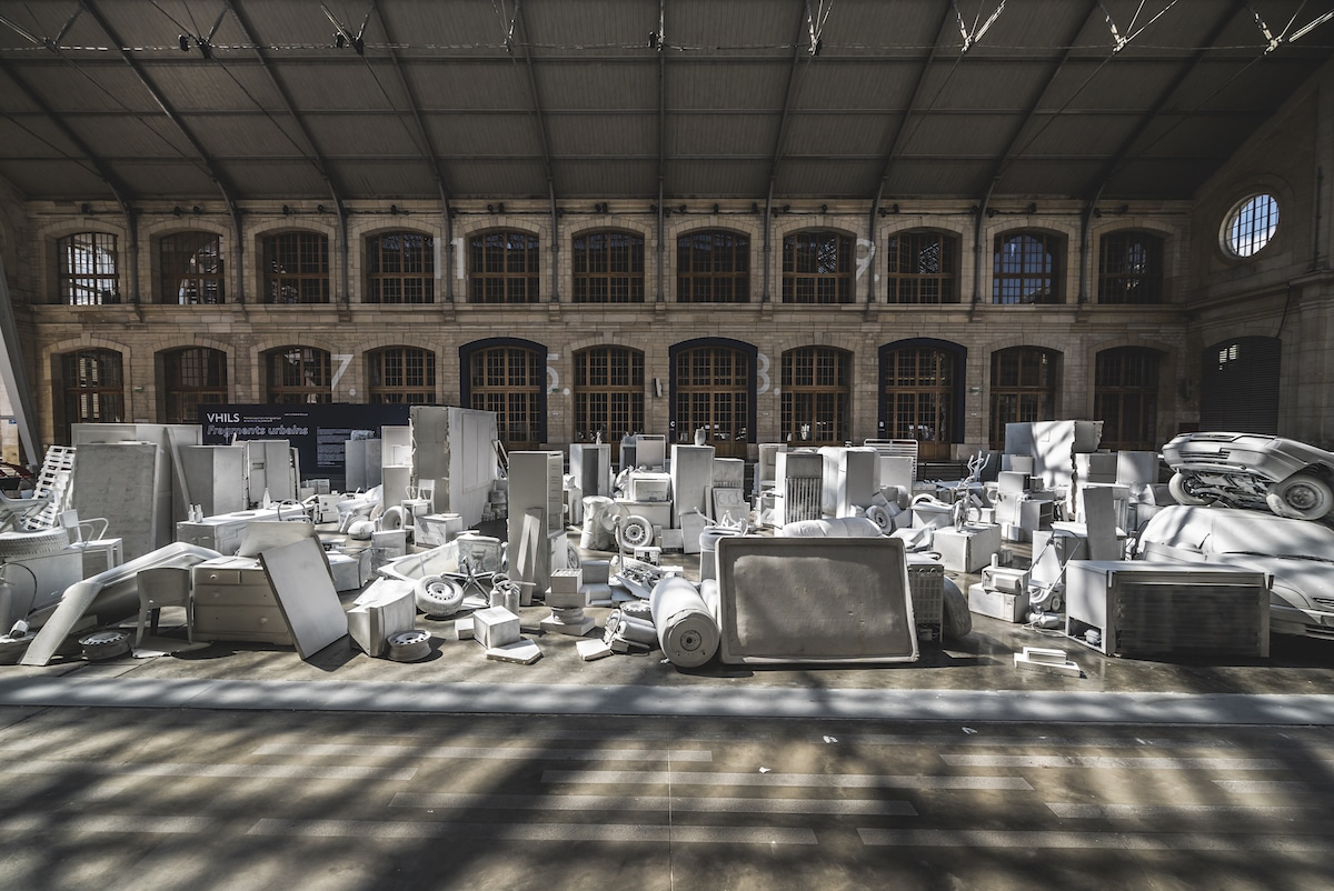 Vhils Installation at the Centquatre in Paris