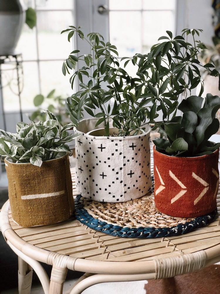 Mudcloth Plant Basket
