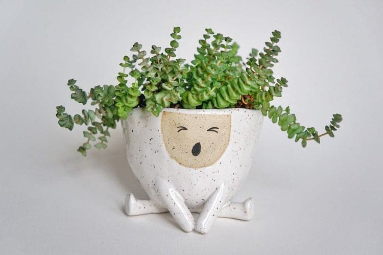 Yawning Ceramic Planter