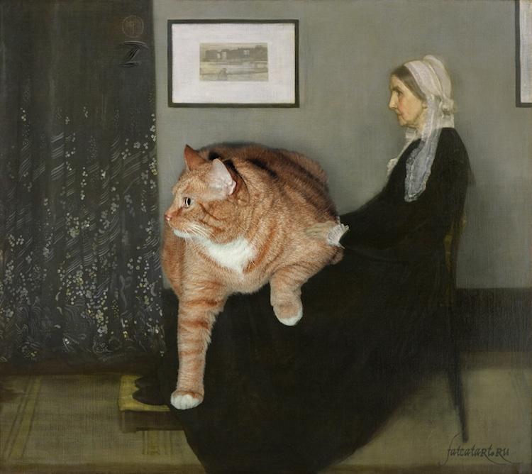 Arte Recreado con Gato Naranja Gordo por Svetlana Petrova