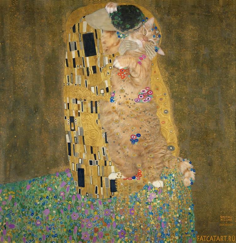 Recreando Arte con Gato Naranja Gordo por Svetlana Petrova