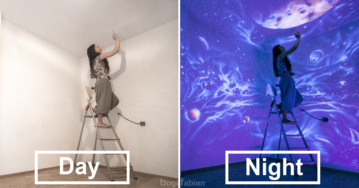 Artist Uses Uv Paint To Create Wall Murals That Are Out Of