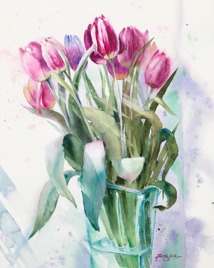 Watercolor Paintings by Jungsook Hyun