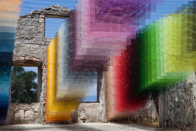 Colorful Installation Art in Ancient Greek Ruin by Quintessenz