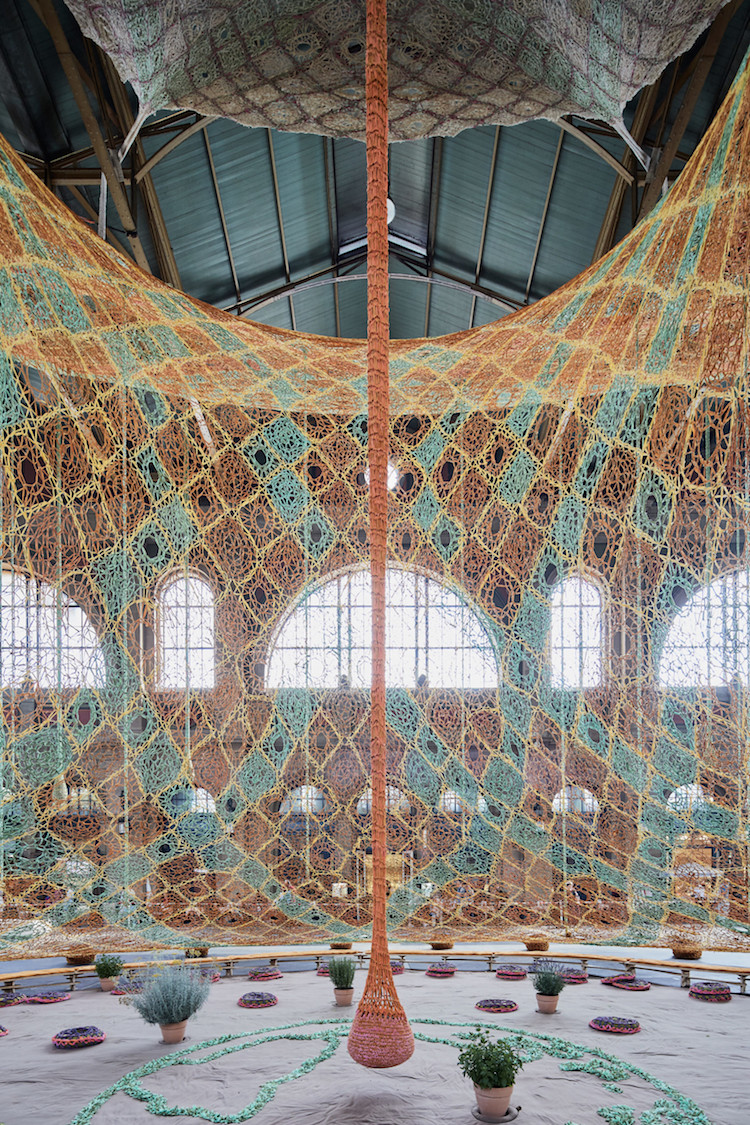 Crochet Tree Textile Sculpture by Ernesto Neto
