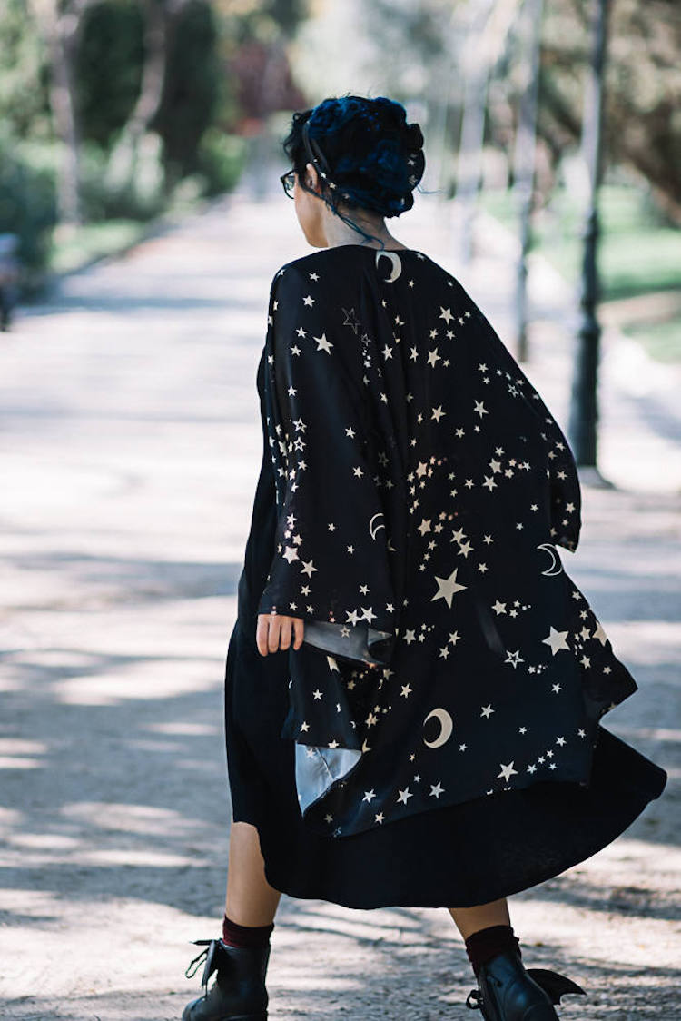 Stars and Moon Silk Kimono