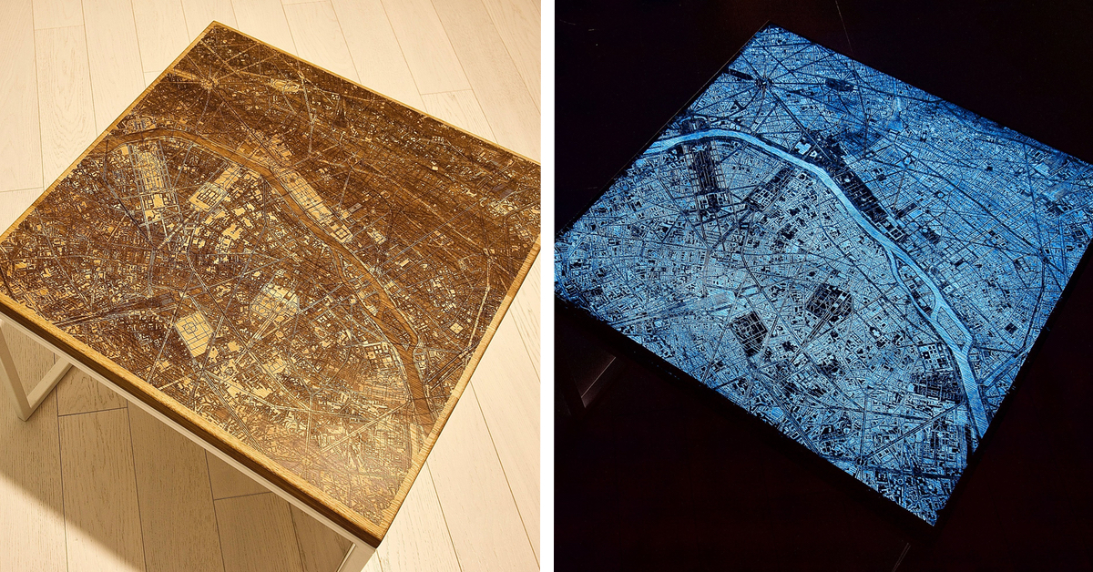 Resin and wood city map coffee tables that glow in the dark - Glow in the dark resin table ...