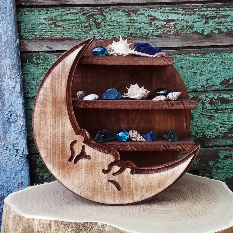 Crescent Moon Shelf by Wood Stand Art