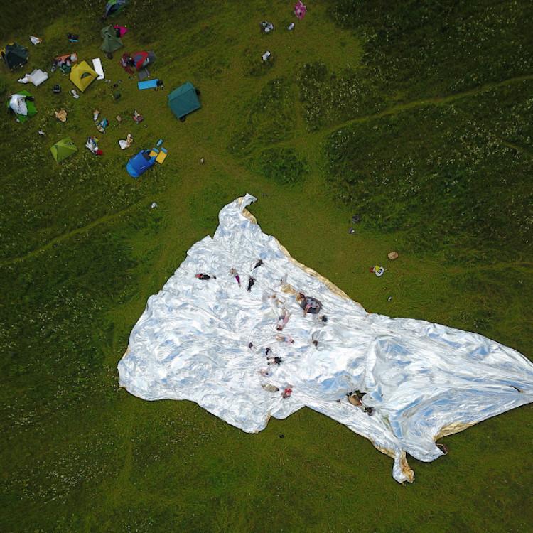 NASA Space Blanket Burning Man by Alex Shtanuk