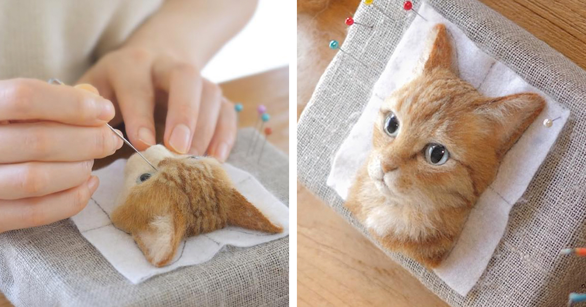 needle felting artist crafts hyperrealistic cat portraits