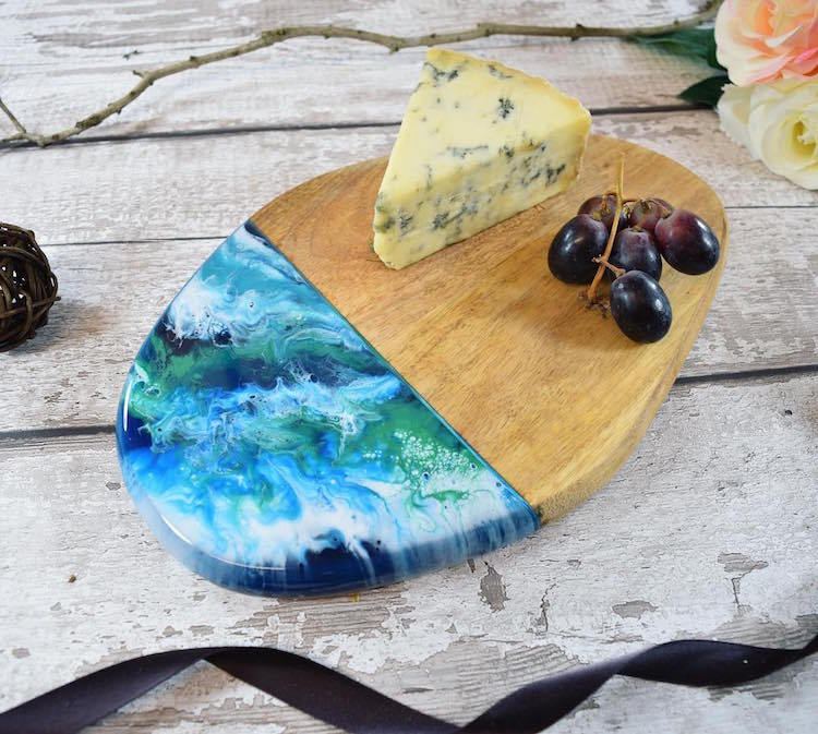 Wooden Chopping Boards Resin Art by Kate Chesters
