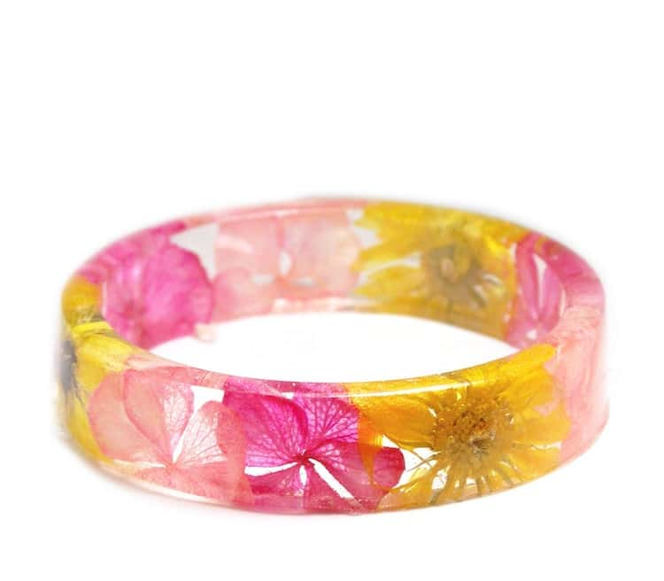 Colorful Resin Bracelet with Real Flowers
