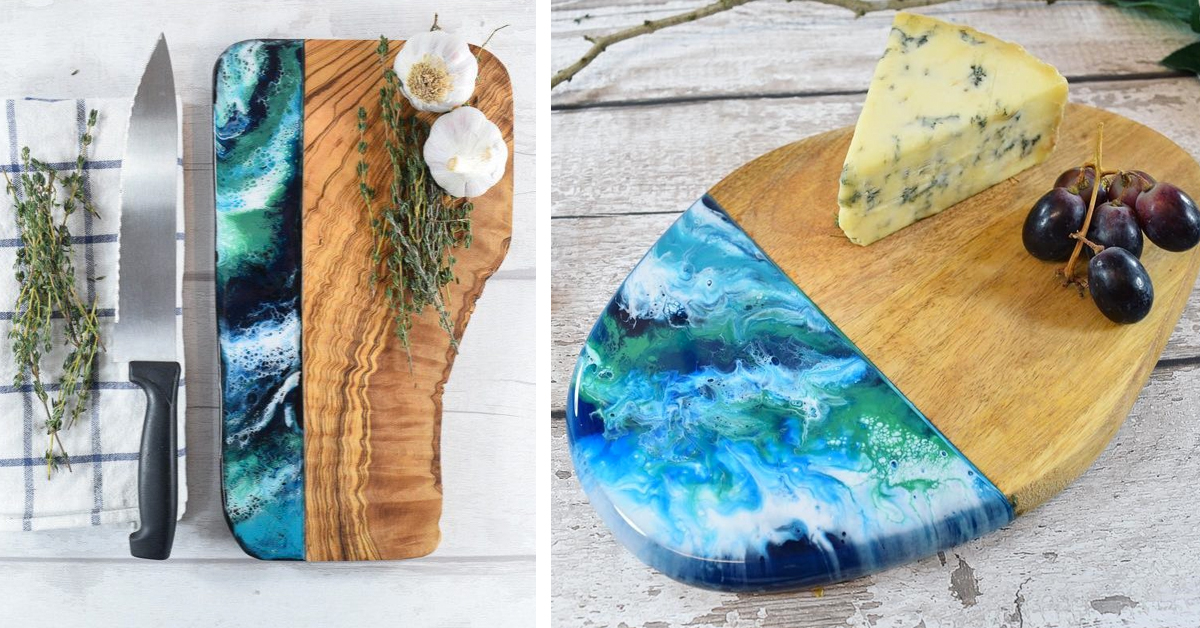 artist creates wooden cutting boards coated in resin art