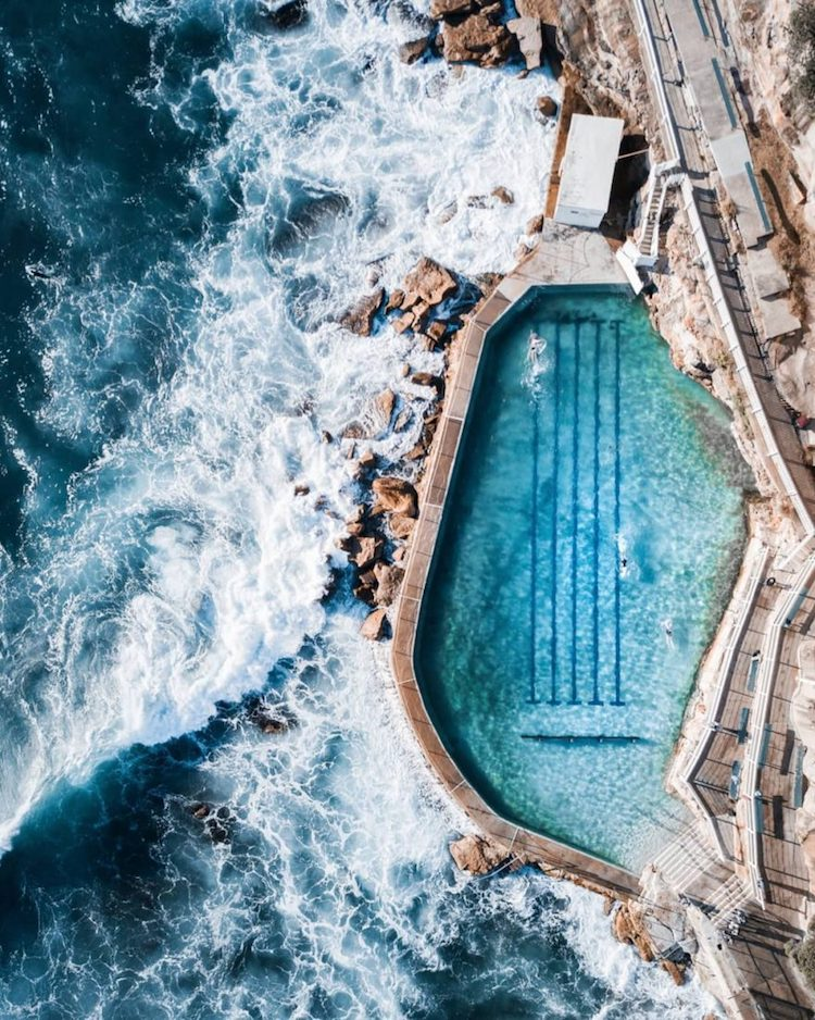 Aerial Photography of Rock Pool in Australia