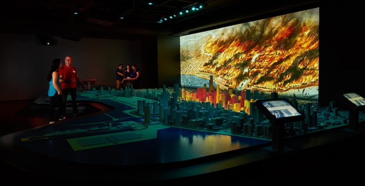 The Great Chicago Fire on The Chicago Model at The Chicago Architecture Center; Photo Credit: Courtesy Chicago Architecture Center