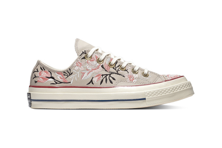 converse reveal lux collection of floral embroidered sneakers
