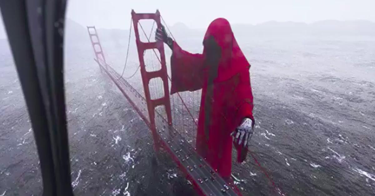 Eerie 3D Animation of Giant Grim Reaper at Golden Gate Bridge