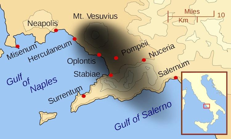 Map of Mount Vesuvius
