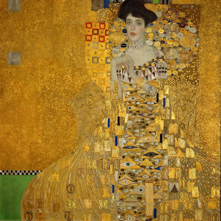 Klimt Woman in Gold Leaf Painting on Canvas