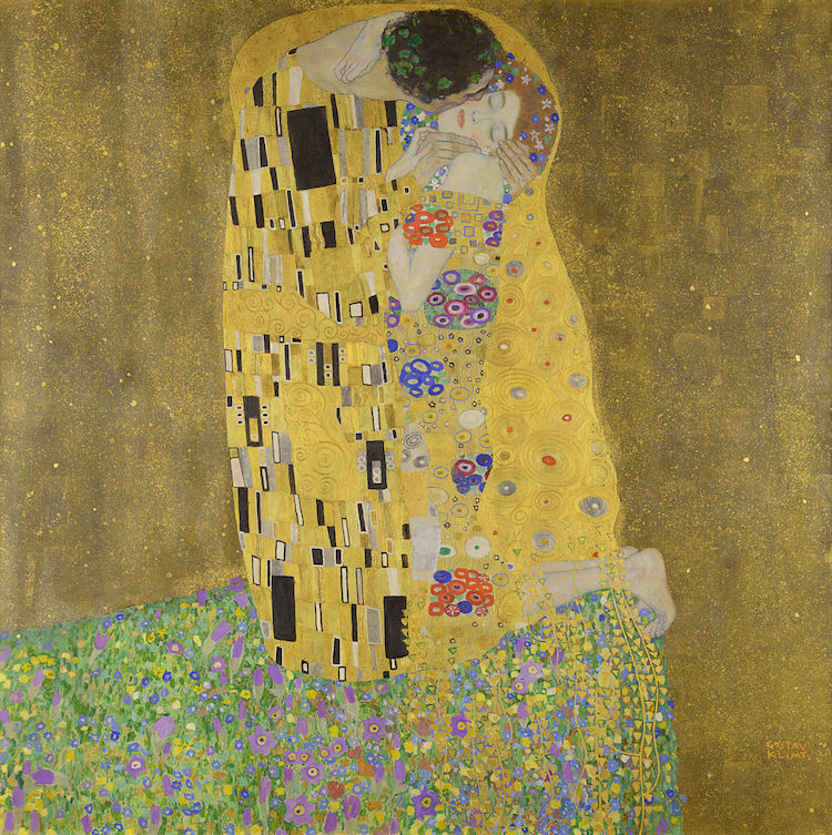 Gold Leaf Painting on Canvas Klimt The Kiss