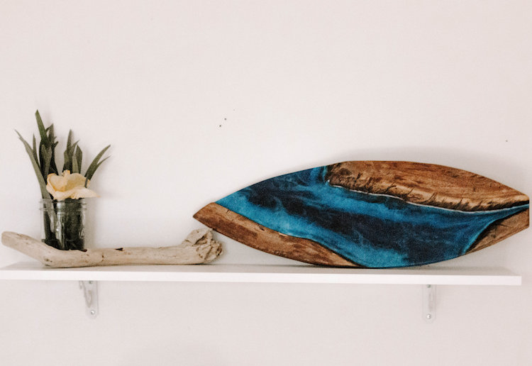 Wood and Resin Art Surfboard by TRVLX