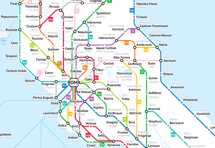 Show A Map Of Italy.Ancient Roman Roads In Italy Transformed Into Modern Subway Map