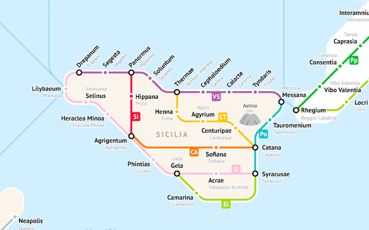 Ancient Rome Subway Map.Ancient Roman Roads In Italy Transformed Into Modern Subway Map