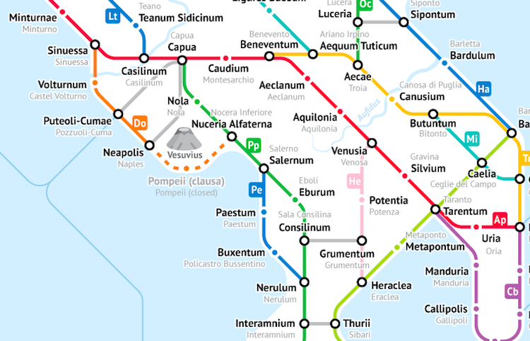 Ancient Roman Roads as a Subway Map