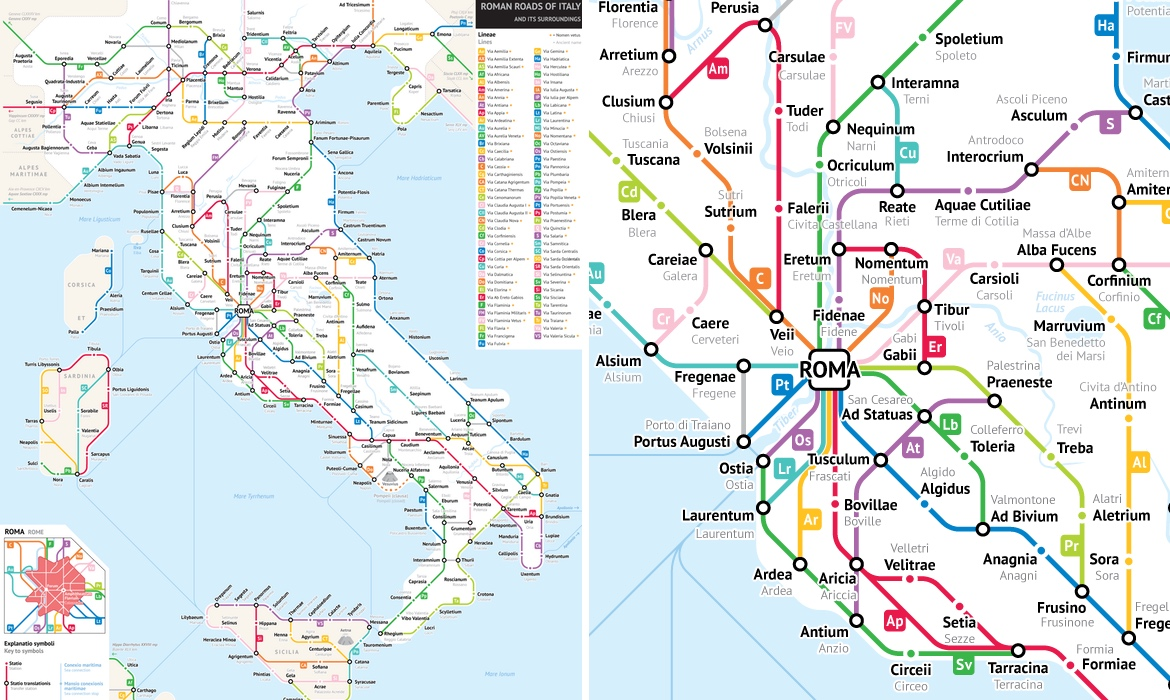 Roman Roads As A Subway Map.History Archives Page 5 Of 17 My Modern Met