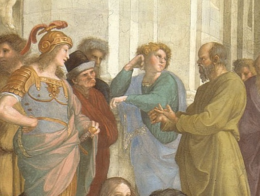 Describe who the people are that are portrayed in the school of athens.