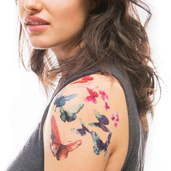 Watercolor Butterfly Temporary Tattoos