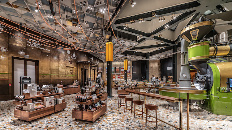starbucks milan makes a splash with an opulent interior