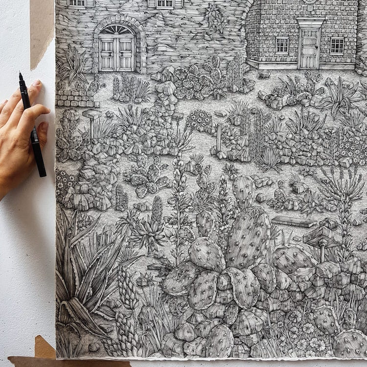 Detailed Pen Drawings by Olivia Kemp