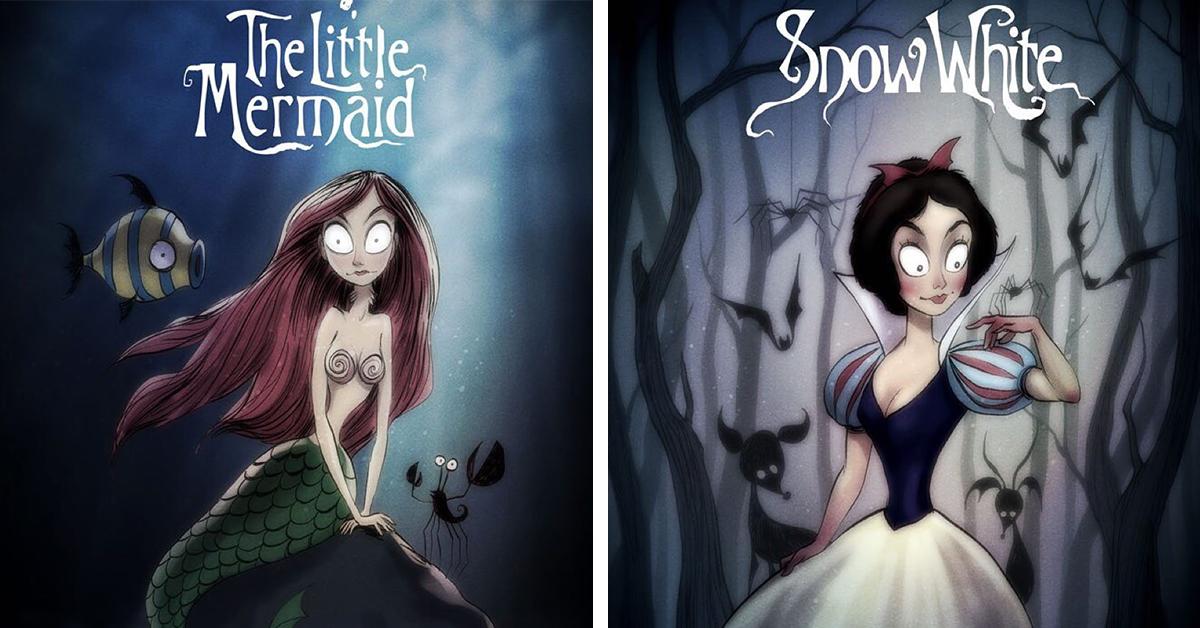Artist Gives Classic Disney Characters A Tim Burton Twist