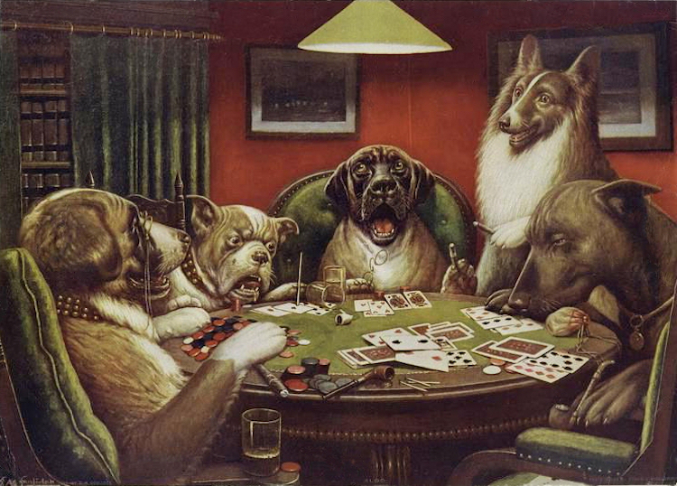 Dogs Playing Poker Painting by Cassius Marcellus Coolidge