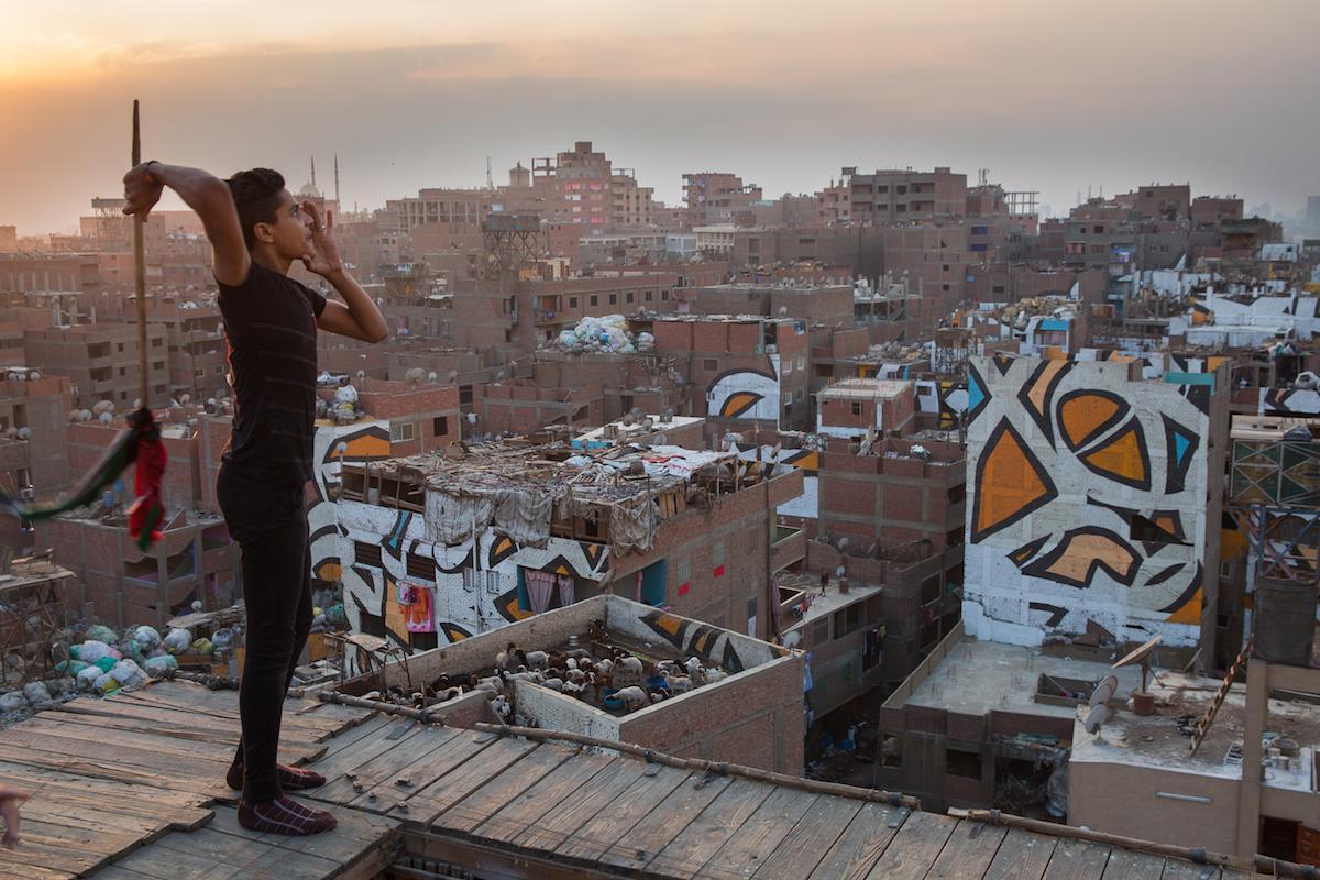 eL Seed anamorphic mural in Egypt