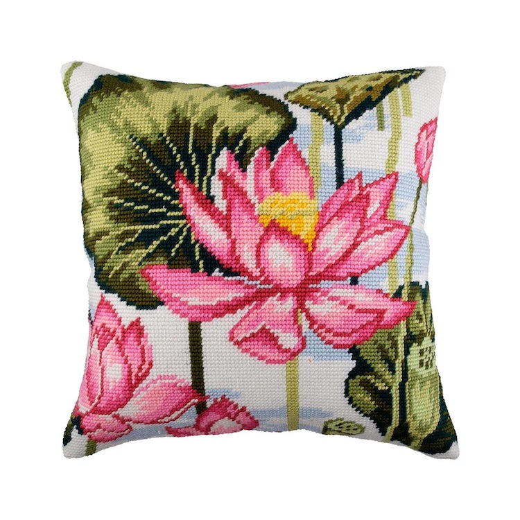 Lotus Needlepoint Pillow