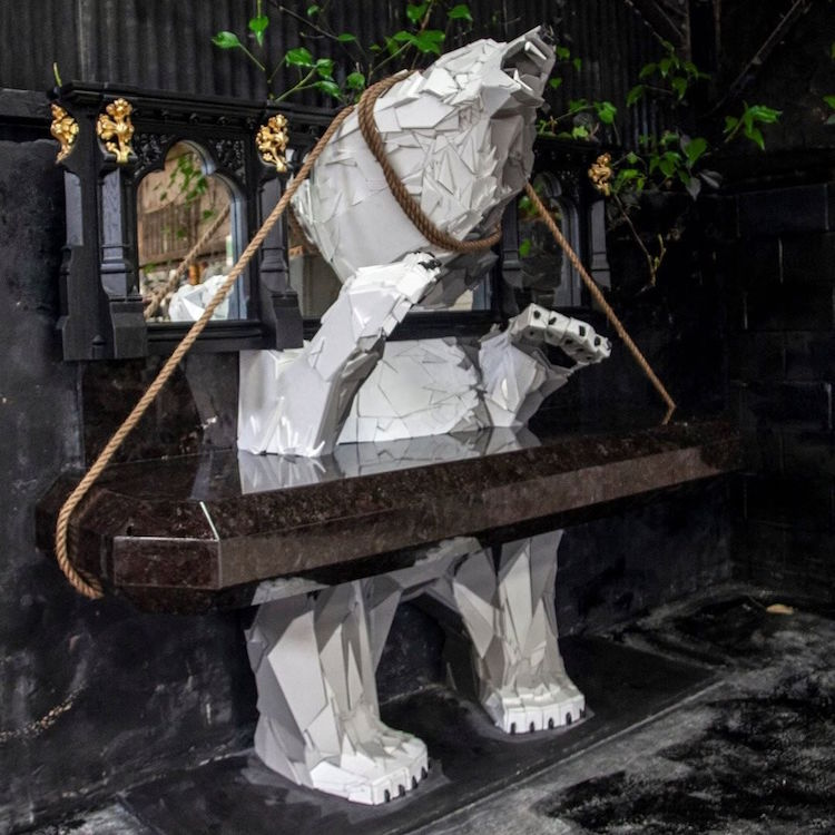 Polar Bear Stone Sculpture by Martin Davenhall
