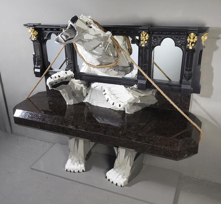Polar Bear Stone Sculpture by Martin Davenhall