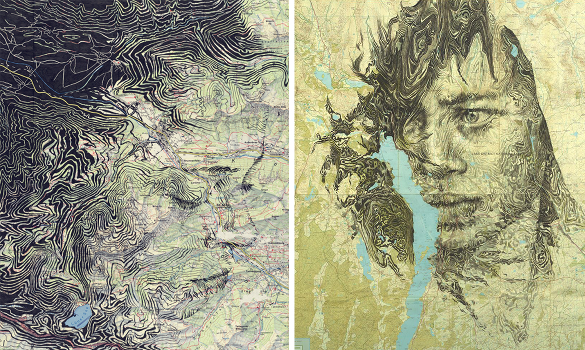 Artist merges cartography with ink and pencil drawings to create beautiful portraits