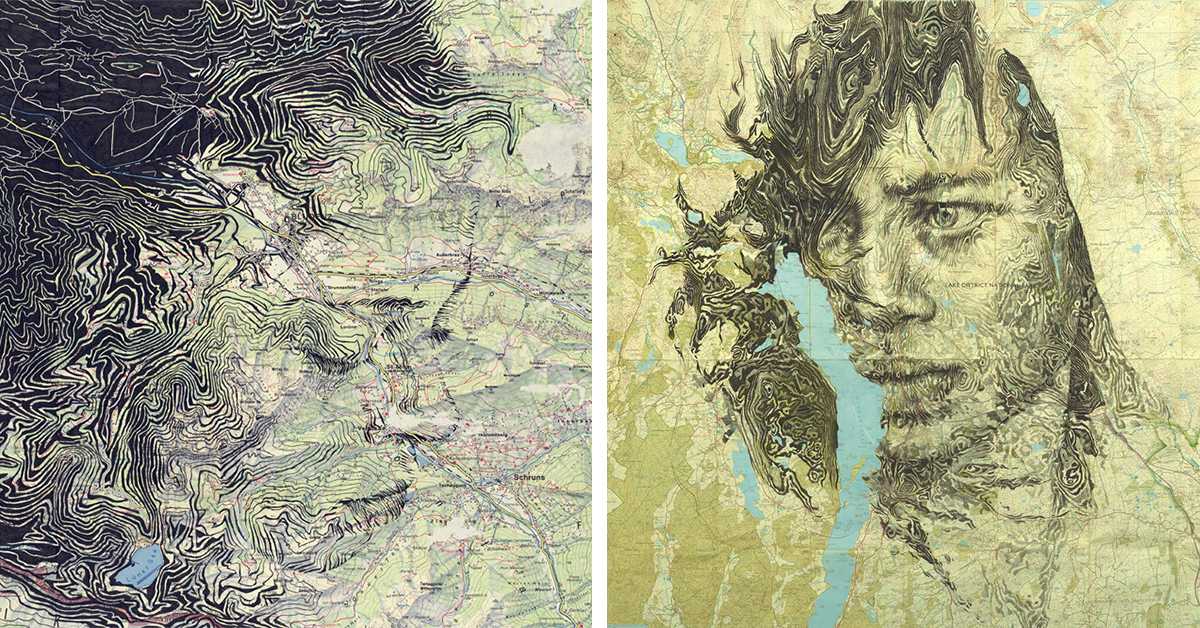 Faces Emerge From Cartography Contours In Expressive Portrait Drawings