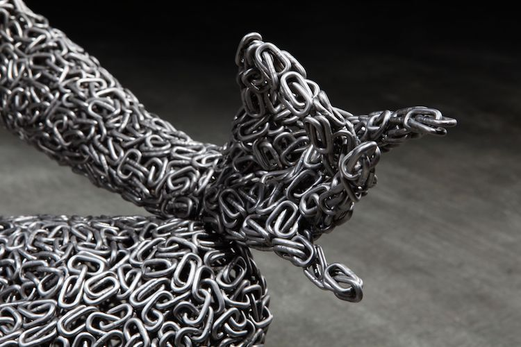 Bicycle Chain Sculpture by Young-Deok Seo