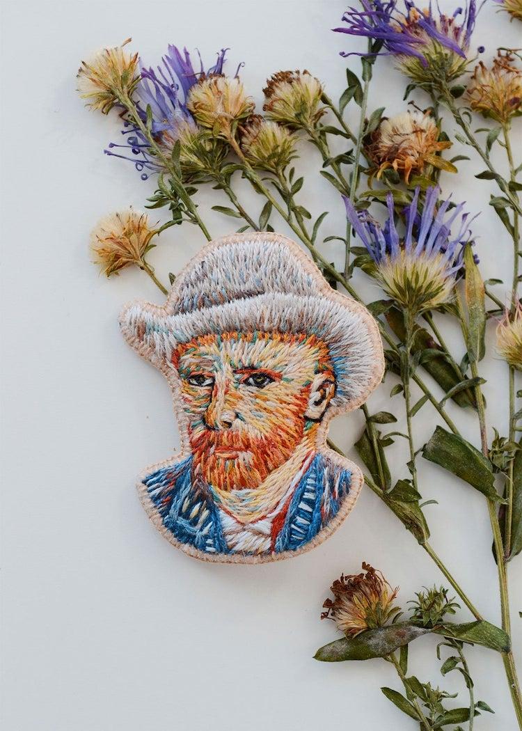 Embroidered van Gogh Brooch