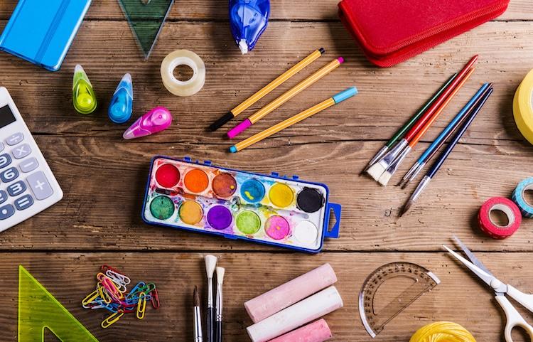 Desk Full of Art Supplies