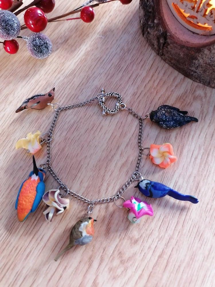 Polymer Clay Bracelet With Birds