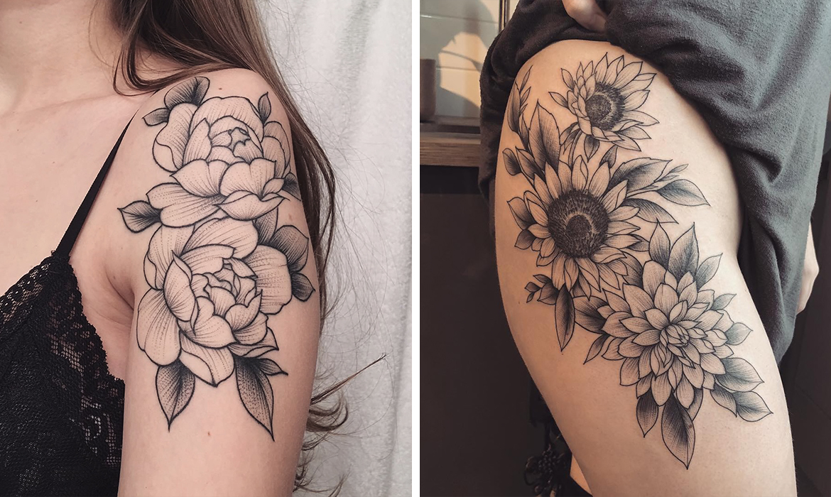 8571e84ed65e0 Eye-Catching Floral Tattoos Immortalize Beautiful Blooms on the Skin