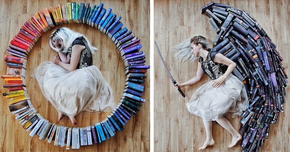 Girl Arranges Her Huge Library Of Novels Into Imaginative