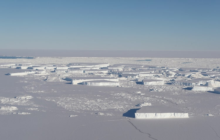 Large tabular icebergs in Antarctica