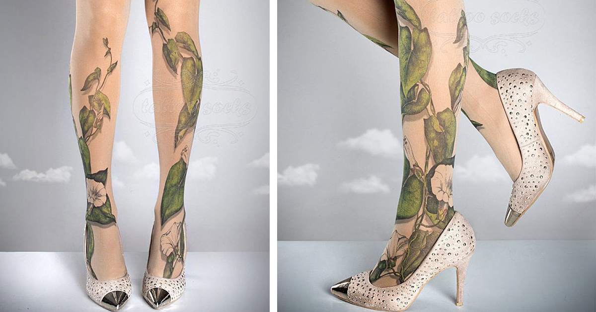 76b1df55b You Can Try on a New Leg Tattoo Every Day With These Patterned Tights