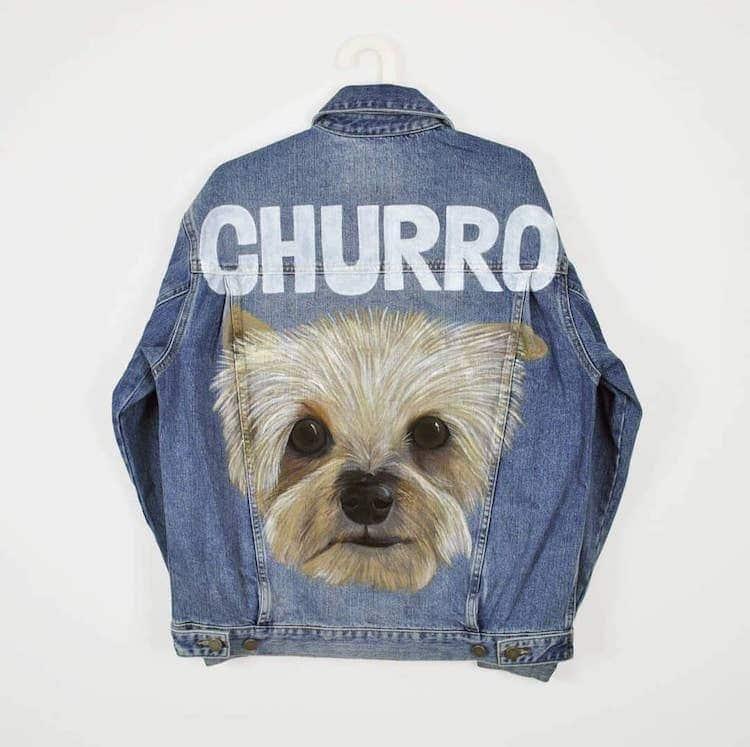 Pet Portrait Painted Denim Jacket
